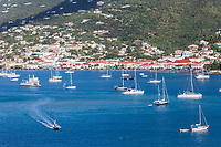 Charlotte Amalie, St. Thomas, U.S. Virgin Islands.  View of the Town from the Harbor.