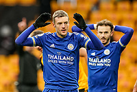 7th February 2021; Molineux Stadium, Wolverhampton, West Midlands, England; English Premier League Football, Wolverhampton Wanderers versus Leicester City; Jamie Vardy, on as a substitute, of Leicester City reacts to a close miss