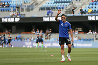SAN JOSE, CA - AUGUST 13: Cristian Espinoza #10 of the San Jose Earthquakes before a game between Vancouver Whitecaps and San Jose Earthquakes at PayPal Park on August 13, 2021 in San Jose, California.