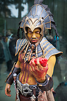 Aztec Priest Holding Bloody Heart of Human Sacrifice, Emerald City Comicon 2017, Seattle, WA, USA.