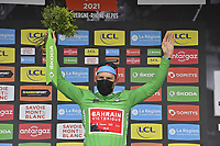 5th June 2021; La Plagne, Tarentaise, France;  COLBRELLI Sonny (ITA) of BAHRAIN VICTORIOUS podium stage 7 of the 73th edition of the 2021 Criterium du Dauphine Libere cycling race, a stage of 171km with start in Saint-Martin-Le-Vinoux and finish in La Plagne