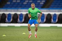22nd July 2021; Stadium Yokohama, Yokohama, Japan; Tokyo 2020 Olympic Games, Brazil versus Germany; Daniel Alves of Brazil warms up before the match