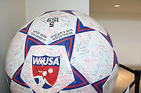 A giant WUSA soccer ball adorns the lobby of the The National Soccer Hall of Fame and Museum, Oneonta, NY, on Monday October 11, 2004..
