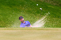 Scott Jamieson chips out of a bunker on the 3rd greenduring the BMW PGA Golf Championship at Wentworth Golf Course, Wentworth Drive, Virginia Water, England on 28 May 2017. Photo by Steve McCarthy/PRiME Media Images.