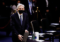 Judge Merrick Garland arrives to testify before a Senate Judiciary Committee hearing on his nomination to be U.S. Attorney General on Capitol Hill in Washington, U.S., February 22, 2021.<br /> Credit: Carlos Barria / Pool via CNP /MediaPunch