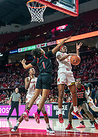COLLEGE PARK, MD - FEBRUARY 9: Kaila Charles #5 of Maryland and Zipporah Broughton #1 of Rutgers clash under the basket during a game between Rutgers and Maryland at Xfinity Center on February 9, 2020 in College Park, Maryland.