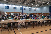 Pictured: A general view during The Swansea East and Gower Election Count at LC in Swansea, Wales, UK. Friday 07 May 2020