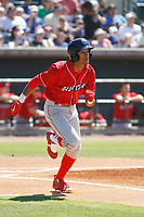 Lakewood BlueClaws infielder Daniel Brito (21) at bat during a game against the Charleston RiverDogs on May 3, 2017 at Joseph P. Riley Ballpark in Charleston, South Carolina. Lakewood defeated Charleston 10-6. (Robert Gurganus/Four Seam Images)