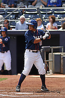 Durham Bulls infielder Ray Olmedo #13 at bat during a game versus the Louisville Bats at Durham Bulls Athletic Park in Durham, North Carolina on May 18, 2011. Durham defeated Louisville by the score of 7-4.    Robert Gurganus/Four Seam Images