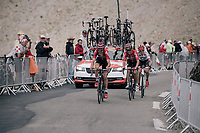 Tiesj Benoot (BEL/Lotto-Soudal), Tony Gallopin (FRA/Lotto-Soudal) & Bauke Mollema (NED/Trek-Segafredo) up the highest point in the 2017 TdF: The Galibier (HC/2642m/17.7km/6.9%)<br /> <br /> 104th Tour de France 2017<br /> Stage 17 - La Mure › Serre-Chevalier (183km)