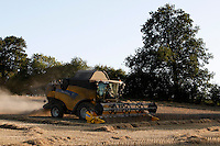 Photo: Richard Lane/Richard Lane Photography. Grain harvest in Clifton, Oxfordshire. New Holland  combine harvesters cuts winter wheat. 20/08/2009.