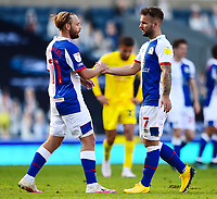 Blackburn Rovers' Adam Armstrong (R) is congratulated by team-mate Harry Chapman at the end of the match<br /> <br /> Photographer Richard Martin-Roberts/CameraSport<br /> <br /> The EFL Sky Bet Championship - Blackburn Rovers v Wycombe Wanderers - Saturday 19 September 2020 - Ewood Park - Blackburn<br /> <br /> World Copyright © 2020 CameraSport. All rights reserved. 43 Linden Ave. Countesthorpe. Leicester. England. LE8 5PG - Tel: +44 (0) 116 277 4147 - admin@camerasport.com - www.camerasport.com