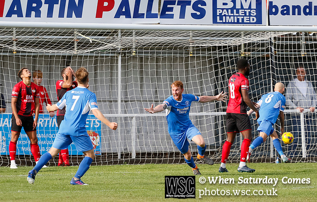 Patrick Brothers of Leiston celebrates his 86th minute winning goal. Kettering Town 1 Leiston 2, Evo Stick Southern League Premier Central, Latimer Park. Kettering Town are a famous name in non-league football. After financial problems, relegations, and relocation, the club are once again upwardly mobile. Despite losing to Leiston, Kettering finished the season as Champions and were promoted to the National League North.