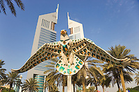 Dubai.  Emirates Towers in the Financial District housing some of the government?s administrative offices.  Model of hawk, part of continuing charity project based on models of local animals and birds..