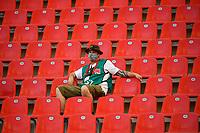 26th May 2020, Leverkusen, North Rhine-Westphalia, Germany; Bundesliga football, Bayer Leverkusen versus VfL Wolfsburg; TV commentator in the stands