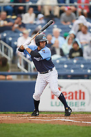 Trenton Thunder designated hitter Jorge Saez (18) at bat during a game against the New Hampshire Fisher Cats on August 19, 2018 at ARM & HAMMER Park in Trenton, New Jersey.  New Hampshire defeated Trenton 12-1.  (Mike Janes/Four Seam Images)