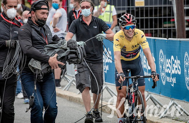 yellow jersey / GC leader Richie Porte (AUS/Ineos Grenadiers) is a happy man crossing the finish line, winning his first Dauphiné title at the age of 36.<br /> <br /> 73rd Critérium du Dauphiné 2021 (2.UWT)<br /> Stage 8 (Final) from La Léchère-Les-Bains to Les Gets (147km)<br /> <br /> ©kramon