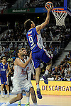 Real Madrid´s Felipe Reyes and Anadolu Efes´s Dario Saric during 2014-15 Euroleague Basketball Playoffs match between Real Madrid and Anadolu Efes at Palacio de los Deportes stadium in Madrid, Spain. April 15, 2015. (ALTERPHOTOS/Luis Fernandez)