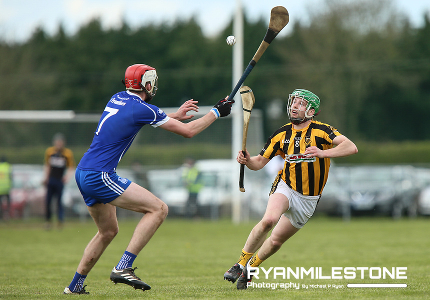 Colm Ryan of Upperchurch/Drombane in action against Jack Darby of Thurles Sarsfields during the Centenary Agri Mid Senior Hurling Championship Quarter Final between Thurles Sarsfields and Upperchurch/Drombane on Saturday 28th April 2018 at Templetuohy, Co Tipperary, Photo By Michael P Ryan