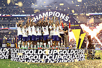 LAS VEGAS, NV - AUGUST 1: Reggie Cannon #2 of the United States lifts the Gold Cup trophy after a game between Mexico and USMNT at Allegiant Stadium on August 1, 2021 in Las Vegas, Nevada.