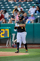 Eric Young Jr. (8) of the Salt Lake Bees bats against the Sacramento River Cats at Smith's Ballpark on May 17, 2018 in Salt Lake City, Utah. Salt Lake defeated Sacramento 12-11. (Stephen Smith/Four Seam Images)