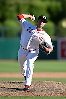 Glendale Desert Dogs pitcher Drew Hayes (29), of the Cincinnati Reds organization, during an Arizona Fall League game against the Mesa Solar Sox on October 8, 2013 at Camelback Ranch Stadium in Glendale, Arizona.  The game ended in an 8-8 tie after 11 innings.  (Mike Janes/Four Seam Images)
