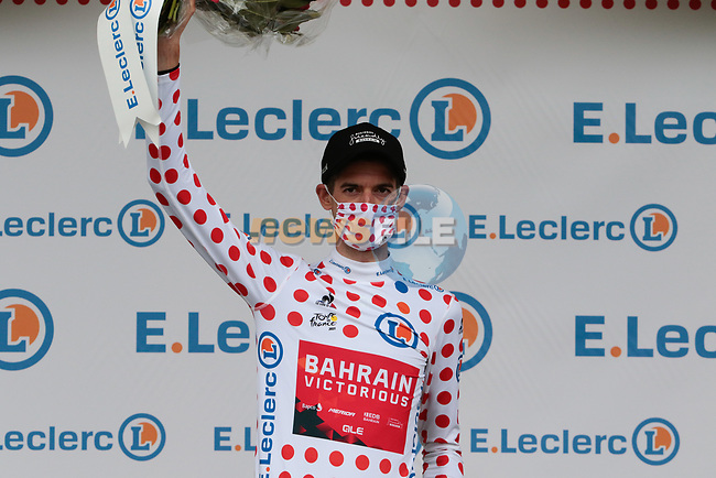 Wout Poels (NED) Bahrain Victorious retains the mountains Polka Dot Jersey at the end of Stage 16 of the 2021 Tour de France, running 169km from Pas de la Case to Saint-Gaudens, Andorra. 13th July 2021.  <br /> Picture: Colin Flockton | Cyclefile<br /> <br /> All photos usage must carry mandatory copyright credit (© Cyclefile | Colin Flockton)
