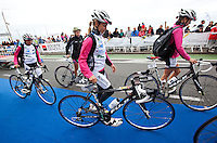 17 SEP 2011 - LA BAULE, FRA - Holly Lawrence (Stade Poitevin Tri) walks into transition before the start of the final round of the women's French Grand Prix Series at the Triathlon Audencia in La Baule, France (PHOTO (C) NIGEL FARROW)
