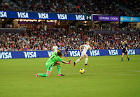 ORLANDO, FL - MARCH 05: GK Alyssa Naeher #1 of the United States rolls out a ball during a game between England and USWNT at Exploria Stadium on March 05, 2020 in Orlando, Florida.