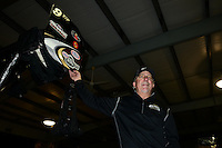 Sept. 16, 2012; Concord, NC, USA: NHRA team owner Allen Johnson of top fuel dragster driver Shawn Langdon celebrates after winning the O'Reilly Auto Parts Nationals at zMax Dragway. Mandatory Credit: Mark J. Rebilas-