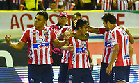 BARRANQUILLA - COLOMBIA ,08-06-2019: Fabian Sambueza jugador del Atlético Junior celebra después de anotar un gol al Deportivo Pasto  durante el primer partido de la final de la Liga Águila I 2019 jugado en el estadio Metropolitano Roberto Meléndez de la ciudad de Barranquilla . /Fabian Sambueza  Atletico Junior celebrates after scoring a goal agaisnt of Deportivo Pasto during the first game of the Liga Águila I 2019 final played at the Metropolitan Stadium Roberto Meléndez of the city of Barranquilla . Photo: VizzorImage / Alfonso Cervantes / Contribuidor.