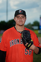Aberdeen Ironbirds pitcher Jake Lyons (58) poses for a photo before a NY-Penn League game against the Staten Island Yankees on August 22, 2019 at Richmond County Bank Ballpark in Staten Island, New York.  Aberdeen defeated Staten Island 4-1 in a rain shortened game.  (Mike Janes/Four Seam Images)