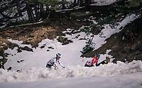 Jasper de Buyst (BEL/Lotto-Soudal) & Juraj Sagan (SVK/BORA-hansgrohe) peering through the snow<br /> <br /> 76th Paris-Nice 2018<br /> stage 6: Sisteron > Vence (198km)