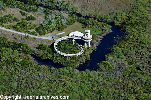 aerial photograph of the Shark Point viewing observation look out tower, Everglades National Park, Florida