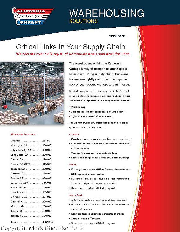 Advertising brohure for California Cartage warehouse facility