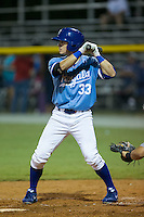 Tanner Stanley (33) of the Burlington Royals at bat against the Pulaski Yankees at Burlington Athletic Park on August 6, 2015 in Burlington, North Carolina.  The Royals defeated the Yankees 1-0. (Brian Westerholt/Four Seam Images)
