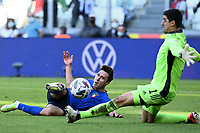 Thibaut Courtois of Belgium saves on Federico Chiesa of Italy during the Uefa Nations League 3rd and 4th place final football match between Italy and Belgium at Juventus stadium in Torino (Italy), October 10th, 2021. Photo Image Sport / Insidefoto
