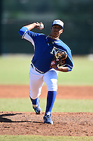 Kansas City Royals pitcher Yohan Tavarez (65) during an Instructional League game against the Cincinnati Reds on October 16, 2014 at Goodyear Training Facility in Goodyear, Arizona.  (Mike Janes/Four Seam Images)