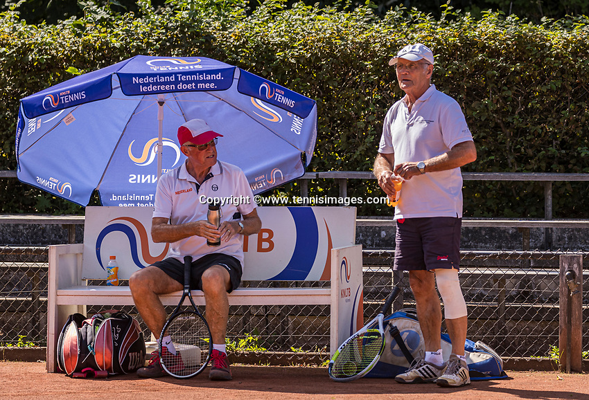 Hilversum, The Netherlands,  August 21, 2020,  Tulip Tennis Center, NKS, National Senior Tennis Championships, Men's single 80+, Men's doubles: Peter Buter <br /> Hilbertus Emmink (NED)<br /> Photo: Tennisimages/Henk Koster