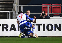 16th February 2021; Ashton Gate Stadium, Bristol, England; English Football League Championship Football, Bristol City versus Reading; Michael Morrison celebrates with Michael Olise of Reading after scoring in the 45th minute 0-2