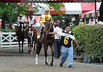 Turbulent Descent (no. 6), ridden by David Flores and trained by Michael Puype, wins the 86th running of the grade 1 Test Stakes for three year old fillies on August 6, 2011 at Saratoga Race Track in Saratoga Springs, New York.  (Bob Mayberger/Eclipse Sportswire)
