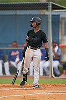 GCL Marlins Alvaro Montero (2) at bat during a Gulf Coast League game against the GCL Mets on August 11, 2019 at St. Lucie Sports Complex in St. Lucie, Florida.  The Marlins defeated the Mets 3-2 in the second game of a doubleheader.  (Mike Janes/Four Seam Images)