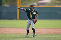 Oakland Athletics shortstop Eric Marinez (7) during a Minor League Spring Training game against the Chicago Cubs at Sloan Park on March 13, 2018 in Mesa, Arizona. (Zachary Lucy/Four Seam Images)