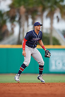 Jacksonville Jumbo Shrimp shortstop Joe Dunand (1) during a game against the Pensacola Blue Wahoos on August 15, 2018 at Blue Wahoos Stadium in Pensacola, Florida.  Jacksonville defeated Pensacola 9-2.  (Mike Janes/Four Seam Images)