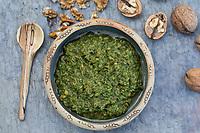 Walnuss-Pesto, Walnuss-Pesto, Walnuss-Pesto, Walnuss-Pesto, Pesto aus Walnüssen, Olivenöl, Knoblauch und Petersilie, Walnuß, Walnuss, Walnüsse, Wal-Nuss, Wal-Nuß, Juglans regia, Walnut, Walnuts, Noyer commun
