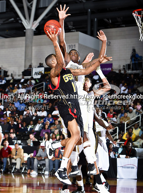 Grambling State Tigers guard/forward Justin Patton (11) in action during the SWAC Championship game between the Alabama State Hornets and the Grambling State Tigers at the Special Events Center in Garland, Texas. Alabama State defeats Grambling State 65 to 48.