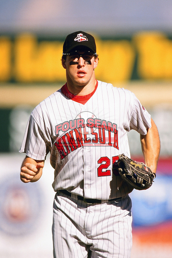 Michael Restovich of the Minnesota Twins organization plays in a California Fall League game at The Epicenter circa October 1999 in Rancho Cucamonga, California. (Larry Goren/Four Seam Images)