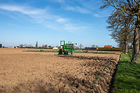 Spraying glyphosate onto over winter ploughing pre drilling - Lincolnshire, March