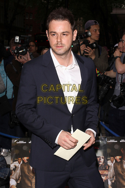 DANNY DYER .Attending UK Film Premiere of 'Pimp' at Odeon Covent Garden, London, England, May 19th 2010. .arrivals half length white shirt navy blue suit jacket stubble beard facial hair .CAP/AH.©Adam Houghton/Capital Pictures.