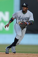 Lexington Legends second baseman Delino DeShields Jr. #4 reacts to the ball during a game against the Asheville Tourists at McCormick Field on May 5, 2012 in Asheville, North Carolina . The Legends defeated the Tourists 5-1. (Tony Farlow/Four Seam Images).